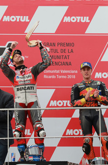 Podium: racewinnaar Andrea Dovizioso, Ducati Team, derde plaats Pol Espargaro, Red Bull KTM Factory Racing