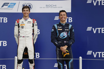 Podium: race winner George Russell, ART Grand Prix, third place Alexander Albon, DAMS