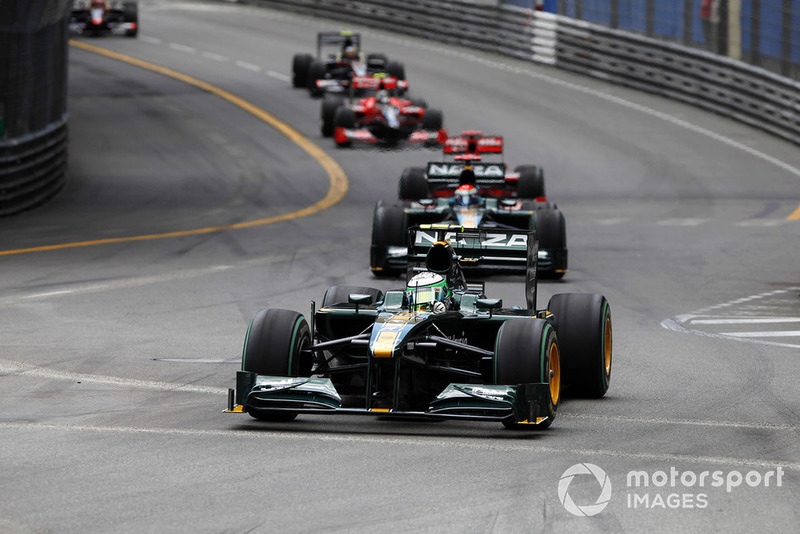 Heikki Kovalainen, Lotus T127 Cosworth, Jarno Trulli, Lotus T127 Cosworth, Timo Glock, Virgin VR-01 Cosworth, Lucas di Grassi, Virgin VR-01 Cosworth, Bruno Senna, HRT F1 F110-02