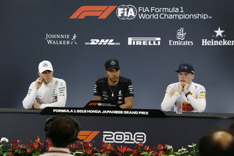 Valtteri Bottas, Mercedes AMG F1, Lewis Hamilton, Mercedes AMG F1 and Max Verstappen, Red Bull Racing in the Press Conference
