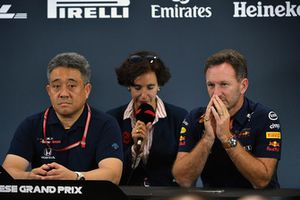Toyoharu Tanabe, Honda F1 Technical Director and Christian Horner, Red Bull Racing Team Principal in the Press Conference