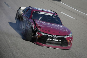 Brandon Jones, Joe Gibbs Racing, Toyota Camry Game Plan For Life with crash damage
