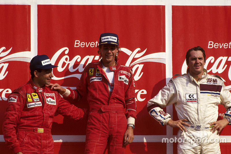 Podium: winner Gerhard Berger, Ferrari, second place Michele Alboreto, Ferrari F187, third place Eddie Cheever, Arrows
