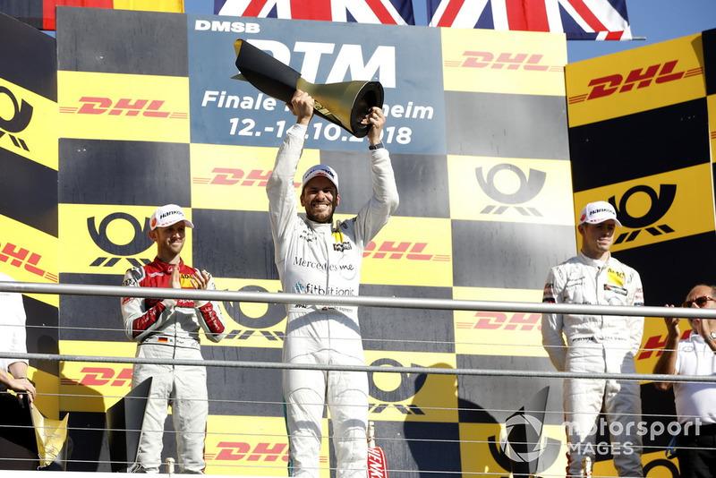 Campeón, Gary Paffett, Mercedes-AMG Team HWA, segundo, René Rast, Audi Sport Team Rosberg, tercero, Paul Di Resta, Mercedes-AMG Team HWA