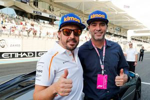 Fernando Alonso, McLaren and NASCAR driver Jimmie Johnson