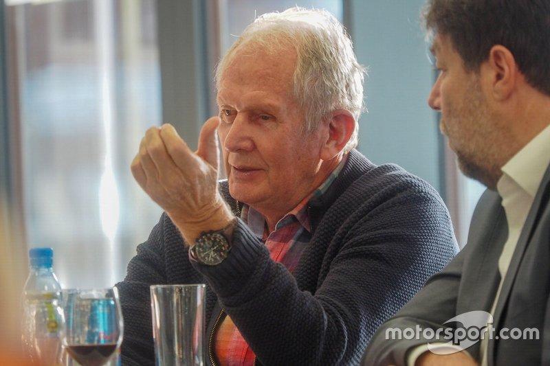 Dr. Helumt Marko. Red Bull Motorsport president, Peter Schöggl, Head of Motorsports, AVL