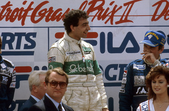 Michele Alboreto, Tyrrell Ford, 1st position, John Watson, McLaren Ford, 3rd position on the podium