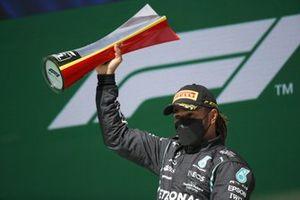 Lewis Hamilton, Mercedes, 1st position, with his trophy