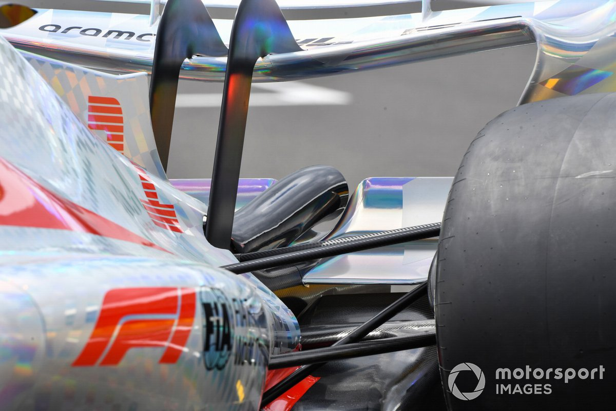 The 2022 Formula 1 car launch event on the Silverstone grid. Rear detail