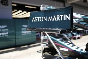 Aston Martin branding on a front wing endplate
