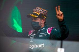 Sebastian Vettel, Aston Martin, 2nd position, on the podium