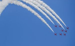The Royal Air Force display team, The Red Arrows, perform for the crowds in their BAE Systems Hawk T.Mk.1A's