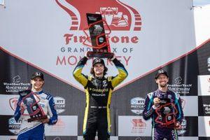 Alex Palou, Chip Ganassi Racing Honda, Colton Herta, Andretti Autosport w/ Curb-Agajanian Honda, Romain Grosjean, Dale Coyne Racing with RWR Honda, podium