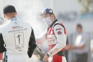 #1: Paul Miller Racing Lamborghini Huracan GT3, GTD: Madison Snow, Bryan Sellers, podium, champagne, celebration, winner, #16: Wright Motorsports Porsche 911 GT3R, GTD: Patrick Long, Trent Hindman