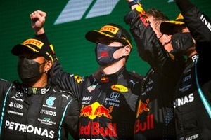 Lewis Hamilton, Mercedes, 2nd position, Max Verstappen, Red Bull Racing, 1st position, and Valtteri Bottas, Mercedes, 3rd position, on the podium