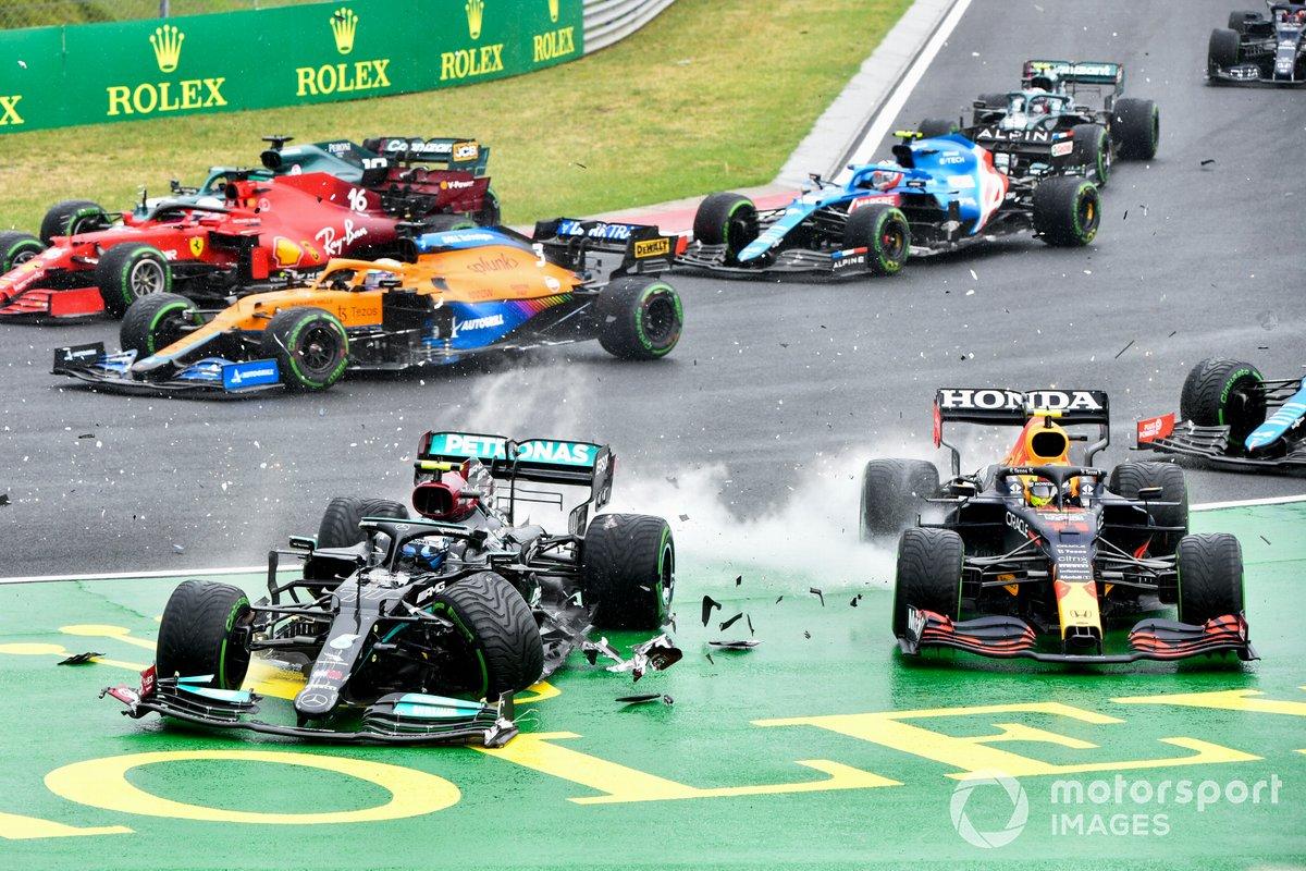 Accidente en la salida del GP de Hungría: Valtteri Bottas, Checo Pérez