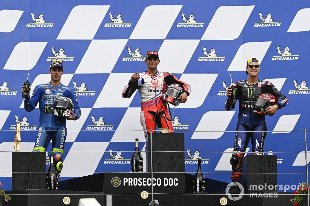 Podio: 1º Jorge Martin, Pramac Racing, 2º Joan Mir, Team Suzuki MotoGP, 3º Fabio Quartararo, Yamaha Factory Racing