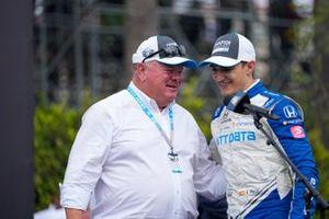 Alex Palou, Chip Ganassi Racing Honda, celebrating NTT series championship, Chip Ganassi
