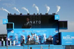 Podium: Race winner Norman Nato, Venturi Racing, second place Oliver Rowland, Nissan e.dams, third place Stoffel Vandoorne, Mercedes-Benz EQ, Mercedes-Benz EQ Silver Arrow 02