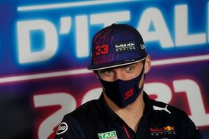 Max Verstappen, Red Bull Racing RB16B at the press conference