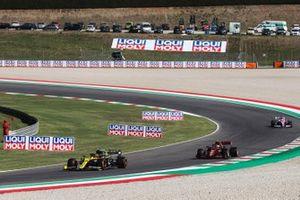 Esteban Ocon, Renault F1 Team R.S.20, Charles Leclerc, Ferrari SF1000, and Sergio Perez, Racing Point RP20