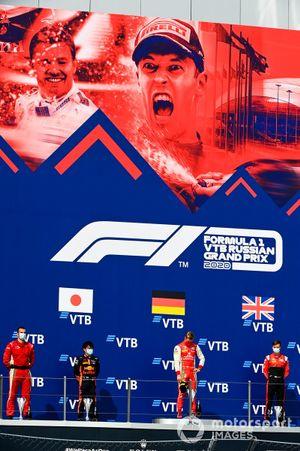 Winning Constructor Representative, Yuki Tsunoda, Carlin, Mick Schumacher, Prema Racing and Callum Ilott, UNI-Virtuosi on the podium