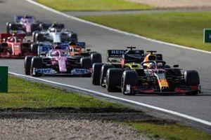 Max Verstappen, Red Bull Racing RB16, Daniel Ricciardo, Renault F1 Team R.S.20, Sergio Perez, Racing Point RP20, and Carlos Sainz Jr., McLaren MCL35