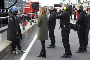 Lewis Hamilton, Mercedes-AMG F1, is interviewed by Natalie Pinkham, Sky TV