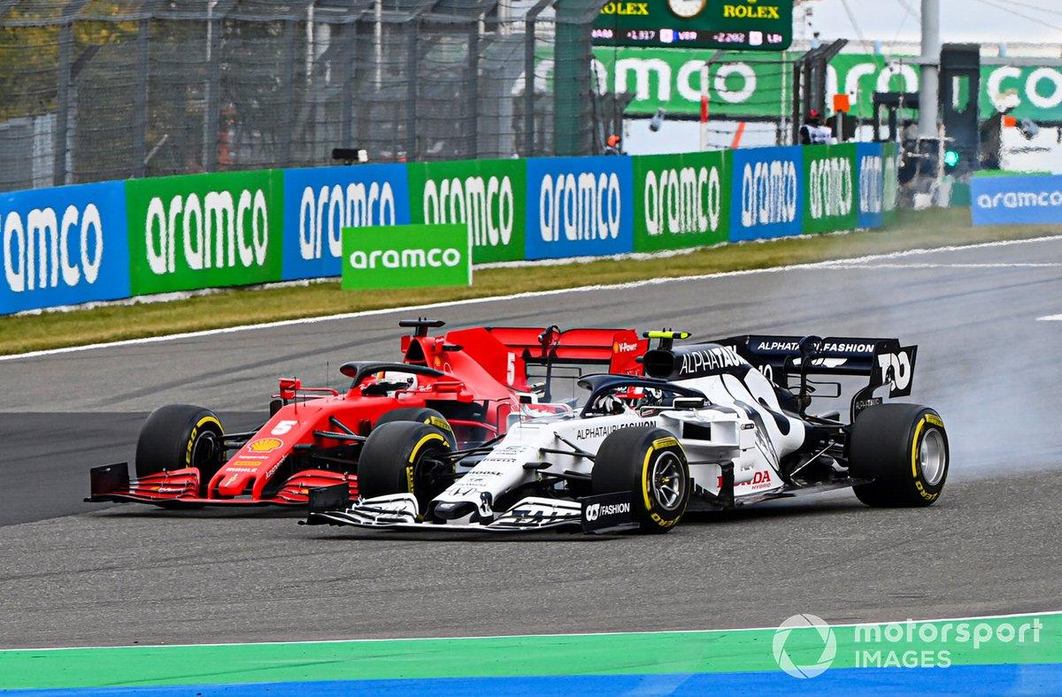 Pierre Gasly, AlphaTauri AT01, e Sebastian Vettel, Ferrari SF1000