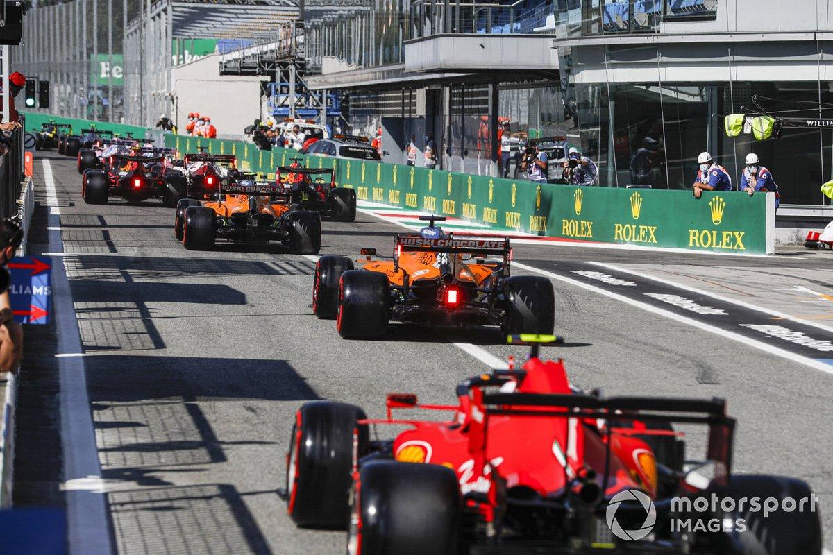 Lando Norris, McLaren MCL35, Carlos Sainz Jr., McLaren MCL35, Charles Leclerc, Ferrari SF1000