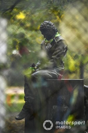 A trackside statue tribute to Ayrton Senna
