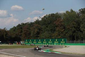 Kimi Raikkonen, Alfa Romeo Racing C39, Antonio Giovinazzi, Alfa Romeo Racing C39, and Lance Stroll, Racing Point RP20