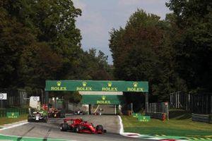 Charles Leclerc, Ferrari SF1000, Antonio Giovinazzi, Alfa Romeo Racing C39, and Alex Albon, Red Bull Racing RB16