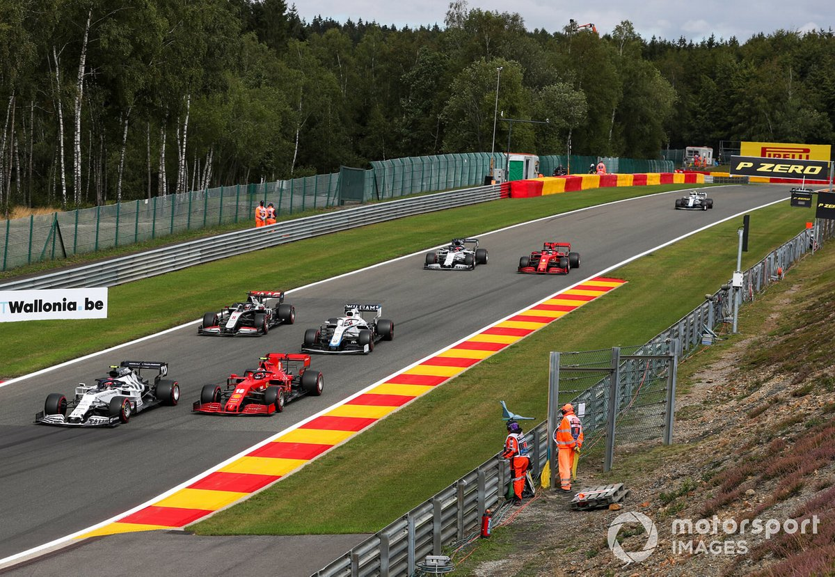 Pierre Gasly, AlphaTauri AT01, Charles Leclerc, Ferrari SF1000, George Russell, Williams FW43, Romain Grosjean, Haas VF-20, Daniil Kvyat, AlphaTauri AT01, and Sebastian Vettel, Ferrari SF1000, during Qualifying