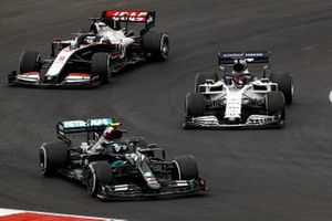Valtteri Bottas, Mercedes F1 W11, Daniil Kvyat, AlphaTauri AT01, and Romain Grosjean, Haas VF-20