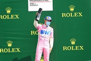 Dylan Pereira, BWT Lechner Racing, 2nd position, on the podium with his trophy