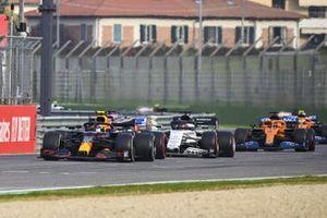 Alex Albon, Red Bull Racing RB16, Sergio Perez, Racing Point RP20, Daniil Kvyat, AlphaTauri AT01, and Carlos Sainz Jr., McLaren MCL35