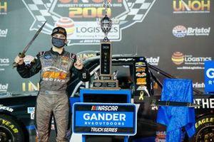 Sam Mayer, GMS Racing, Chevrolet Silverado Armour Guard in victory lane