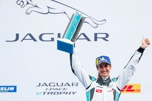 Célia Martin, Viessman Jaguar eTROPHY Team Germany, 2nd position, celebrates on the podium