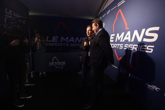 James Allen, Motorsport Network President, and Gerard Neveu, FIA WEC CEO during qualifying for the Le Mans Esports Series Final