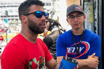 Darrell Wallace Jr. spends some time with Petty eSports driver Diego Alvarado (diego dd18) prior to the season kickoff for the eNASCAR Heat Pro League