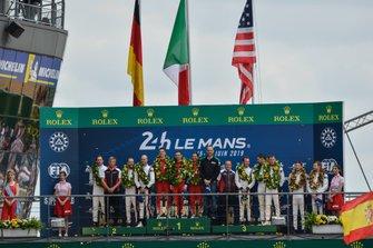Podium GTE Pro: Winner #51 AF Corse Ferrari 488 GTE EVO: Alessandro Pier Guidi, James Calado, Daniel Serra, second place #91 Porsche GT Team Porsche 911 RSR: Richard Lietz, Gianmaria Bruni, Frédéric Makowiecki, third place #93 Porsche GT Team Porsche 911 RSR: Patrick Pilet, Nick Tandy, Earl Bamber