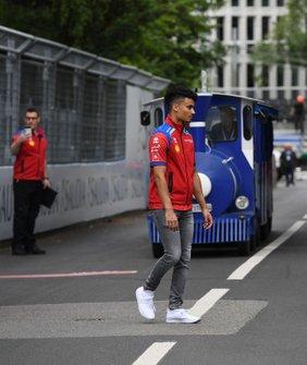 Pascal Wehrlein, Mahindra Racing, avoids a train