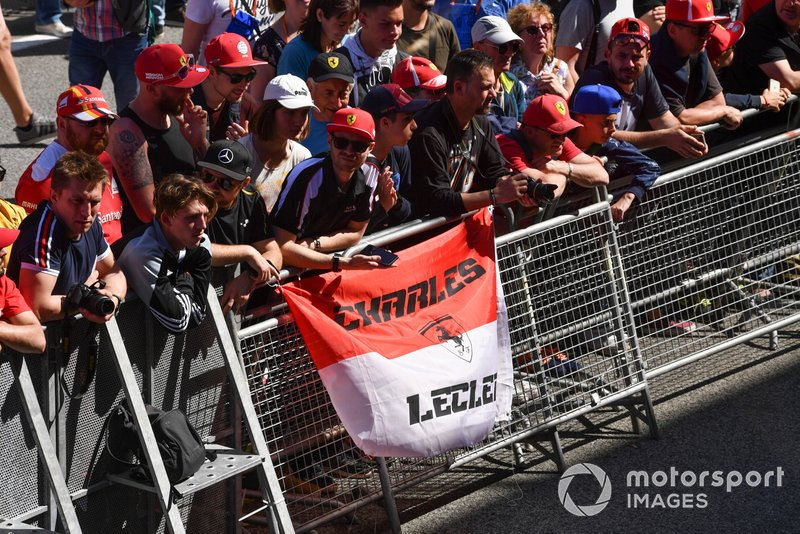 Fans of Charles Leclerc, Ferrari, in the paddock