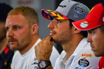 Carlos Sainz Jr., McLaren, Valtteri Bottas, Mercedes AMG F1 and Sebastian Vettel, Ferrari in Press Conference