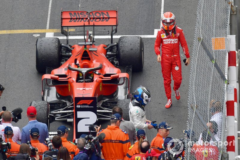 Valtteri Bottas, Mercedes AMG F1, 3rd position, and Sebastian Vettel, Ferrari, 2nd position, in Parc Ferme