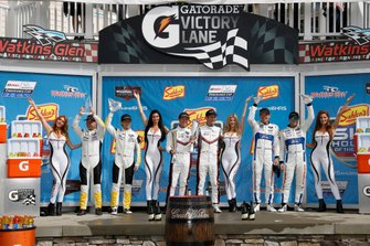 #3 Corvette Racing Corvette C7.R, GTLM: Jan Magnussen, Antonio Garcia, #911 Porsche GT Team Porsche 911 RSR, GTLM: Patrick Pilet, Nick Tandy, #67 Ford Chip Ganassi Racing Ford GT, GTLM: Ryan Briscoe, Richard Westbrook, podium