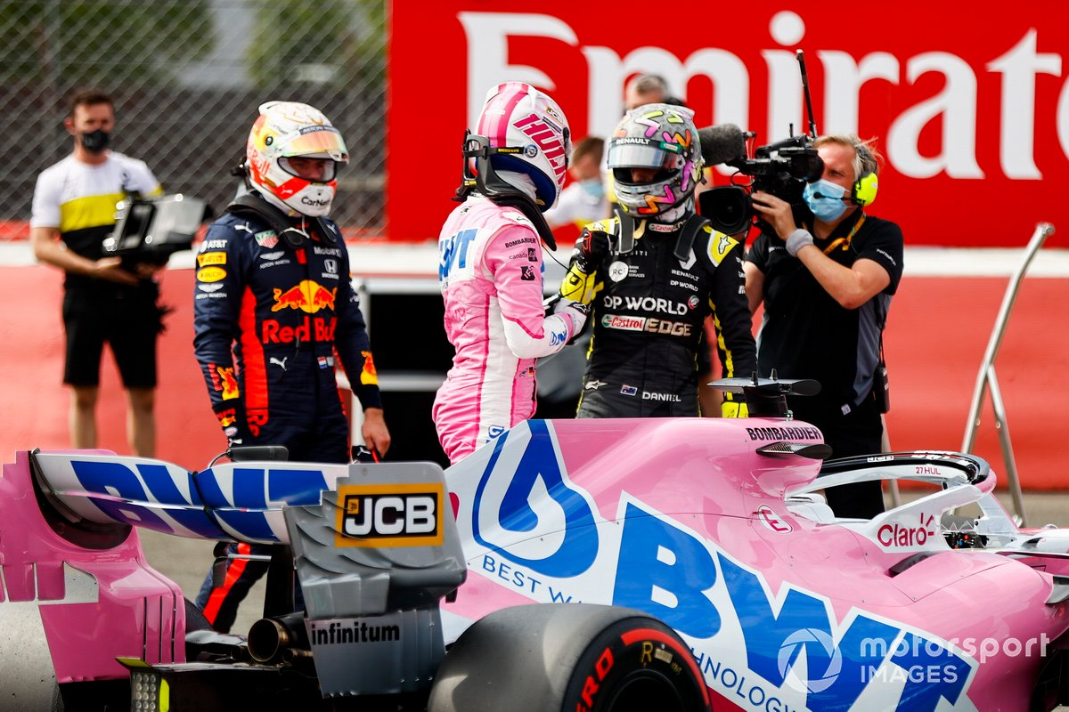 Max Verstappen, Red Bull Racing, Daniel Ricciardo, Renault F1 e Nico Hulkenberg, Racing Point festeggia nel Parc Ferme