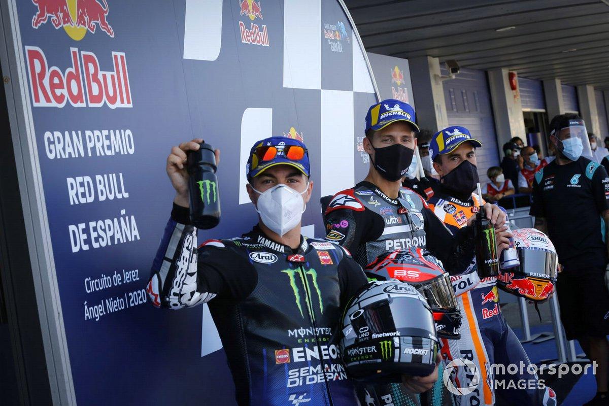 Ganador de la pole Fabio Quartararo, Petronas Yamaha SRT, segundo Maverick Viñales, Yamaha Factory Racing, tercero Marc Márquez, Repsol Honda Team