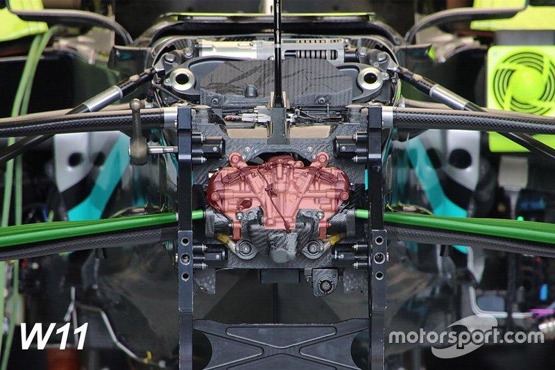 Dettaglio evidenziato della sospensione anteriore Mercedes AMG F1 W11